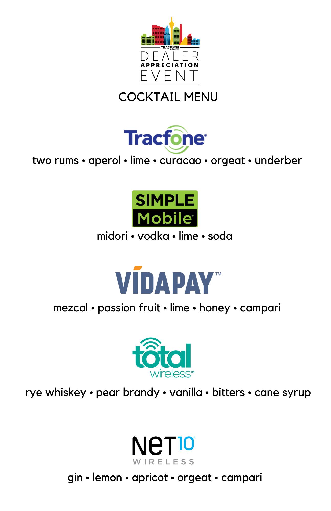 Dealer Appreciation Cocktail Menu